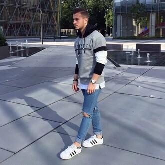 sweater maniere de voir hoody sweatshirt jumper pullover grey logo