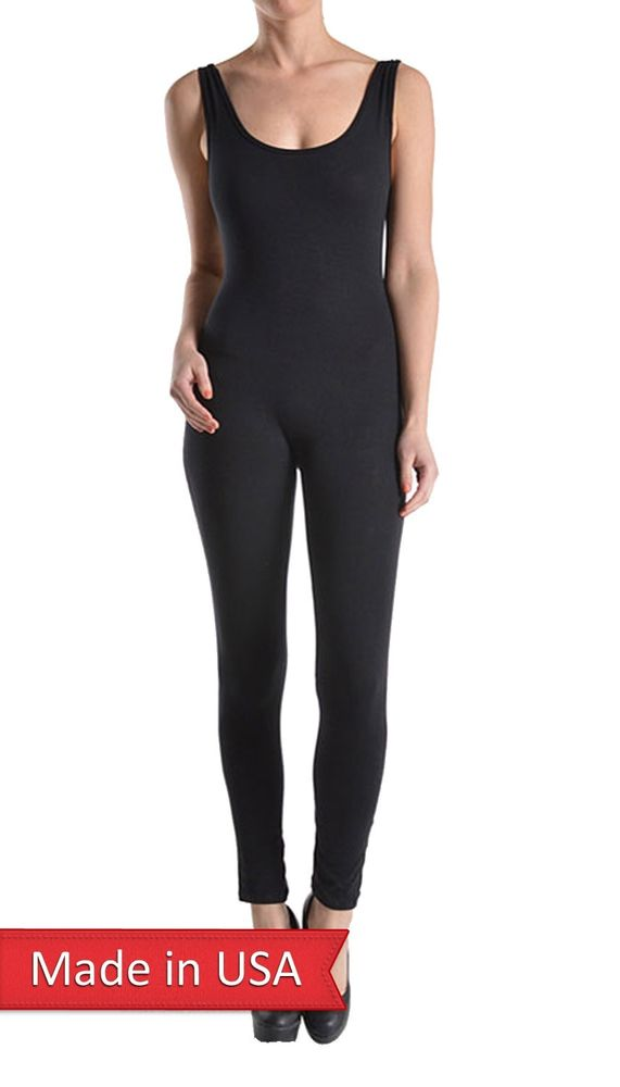 Solid Color Black Soft Cotton Blend Tank Jumpsuits Romper Skinny Leg Bottoms USA