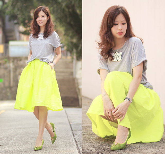 Yellow Midi Skater Skirt | Choies