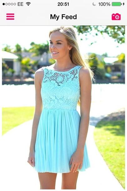 dress light blue lace prom dress turquoise dress
