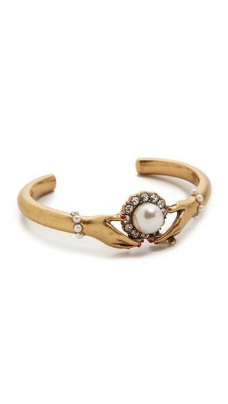 cuff cuff bracelet gold cream jewels