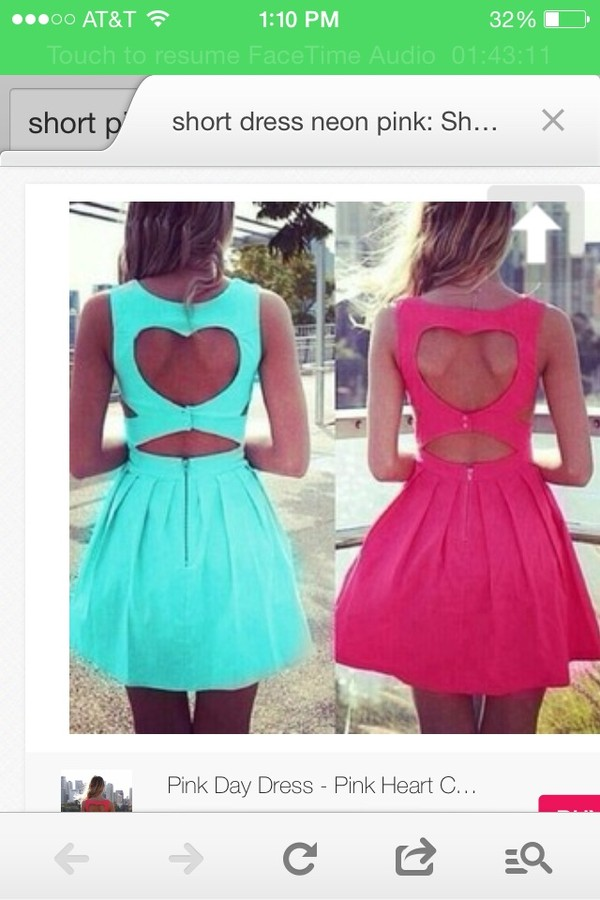 dress pink blue dress heart on the back