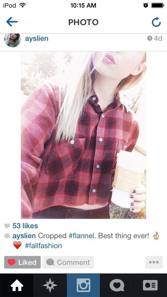 blouse flannel flannel shirt plaid plaid shirt cropped top cropped