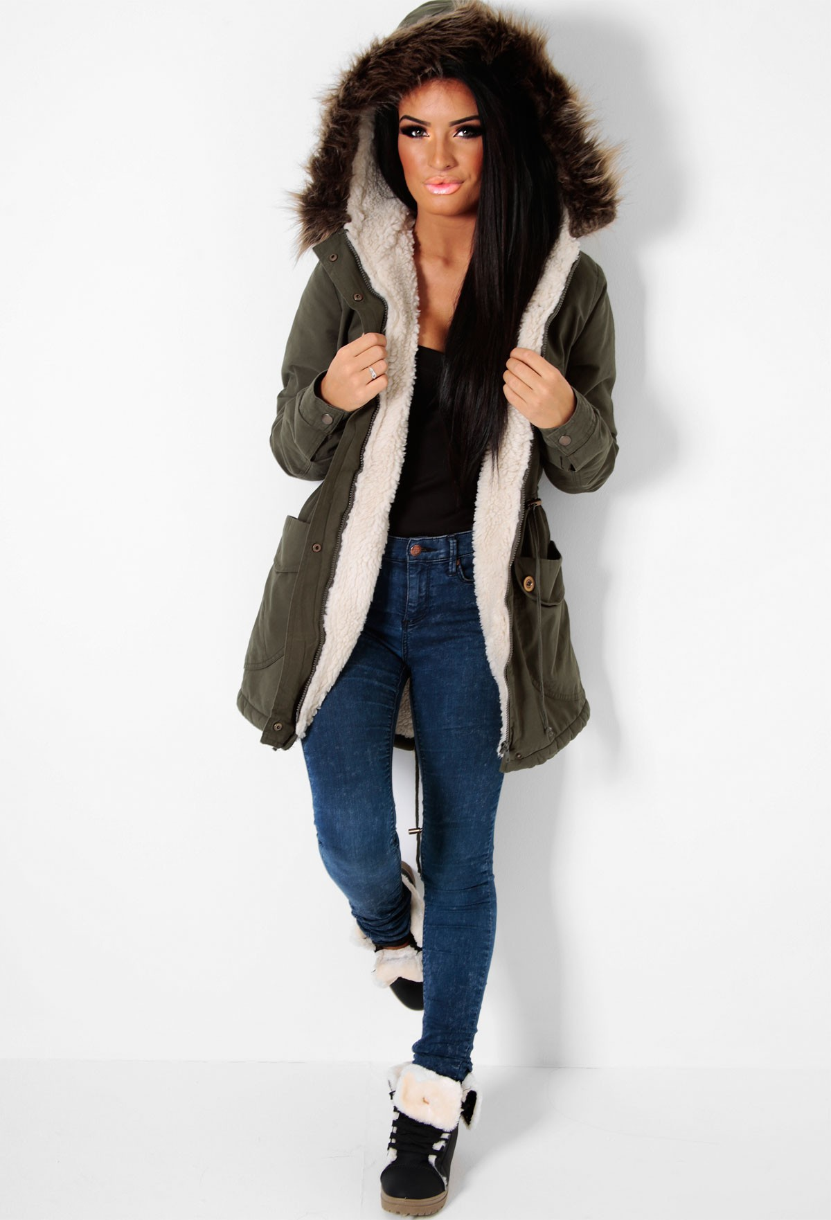 Green Hooded Faux Fur Trim Parka Coat | Pink Boutique