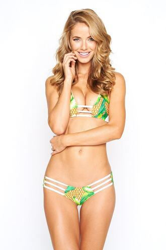 swimwear bikini bottoms bikini delivery cheeky cute outfits green montce swim print ruched bikini white yellow