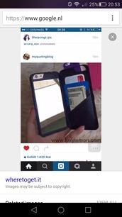 phone cover,black phone case,huawei p8,iphone 6 case,mirror card holder phone case,phone