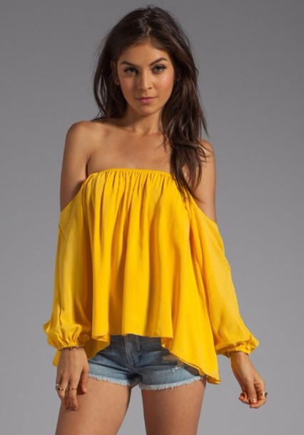blouse yellow audrey off shoulder blouse long sleeves