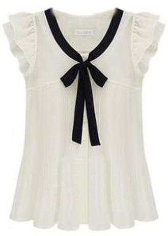bow fashion cute black shirt white
