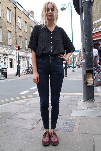 blouse black oversized dots button up