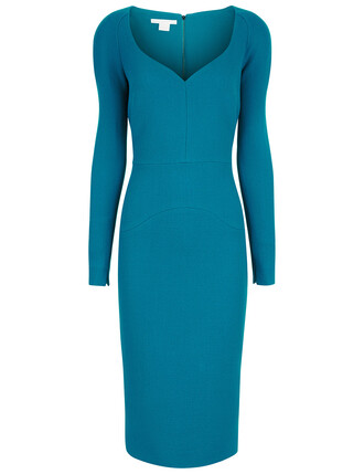 dress long blue wool green