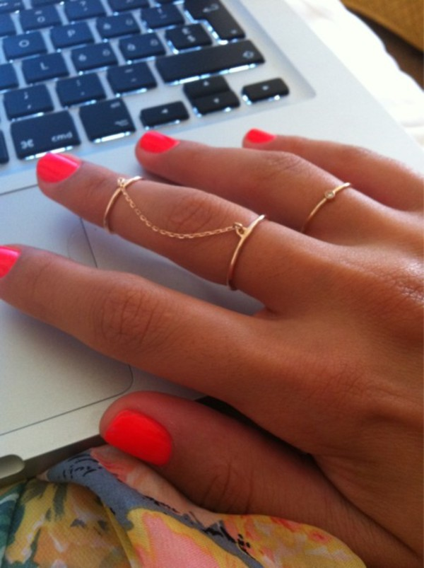 jewels ring jewelry orange gold two style hand