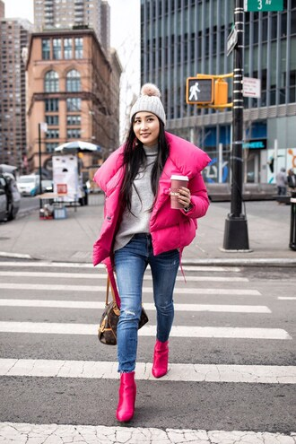 jacket tumblr pink jacket puffer jacket denim jeans blue jeans skinny jeans boots pink boots ankle boots sweater grey sweater beanie pom pom beanie