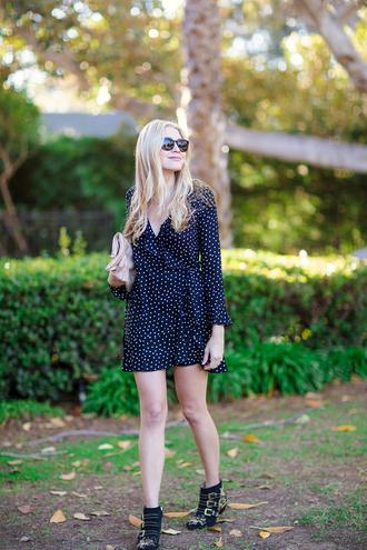 modern ensemble blogger dress jacket shoes bag sunglasses blue dress clutch mini dress ankle boots