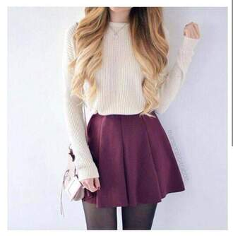 sweater jumper white cream skirt wine red purple tights black girl hot pretty cute nice short long loose baggy knit crochet dress red ivory burgundy