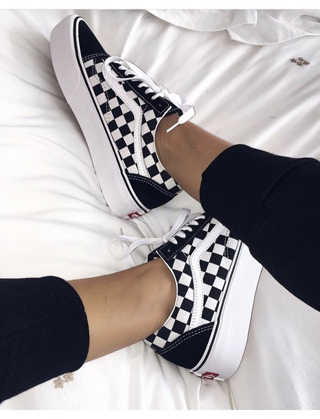 shoes vans checkerboard black and white
