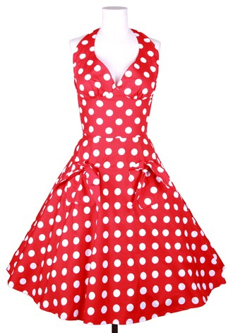 marilyn monroe vintage retro 1950s 50s style polka dots housewife rockabilly red dress