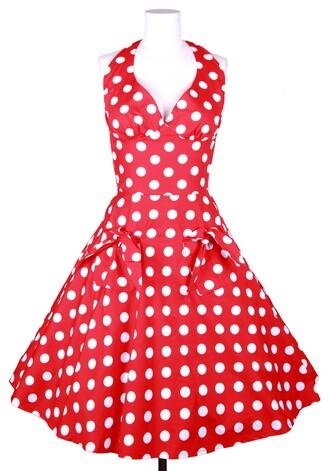 50s style polka dots housewife rockabilly vintage retro red dress marilyn monroe