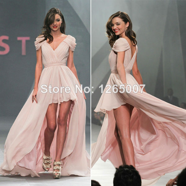 Aliexpress.com : Buy Miranda Kerr V Neck Short Sleeves Ruffles Front Short And Long Back Pink Chiffon A Line Celebrity Prom Dresses from Reliable sleeve shirt dress suppliers on SFBridal