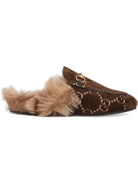 gucci metal fur women slippers leather velvet brown shoes