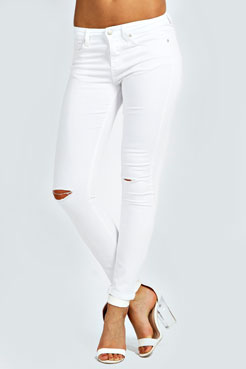 Jaimie White 5 Pocket Ankle Grazer at boohoo.com