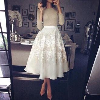 skirt white white skirt flower dress