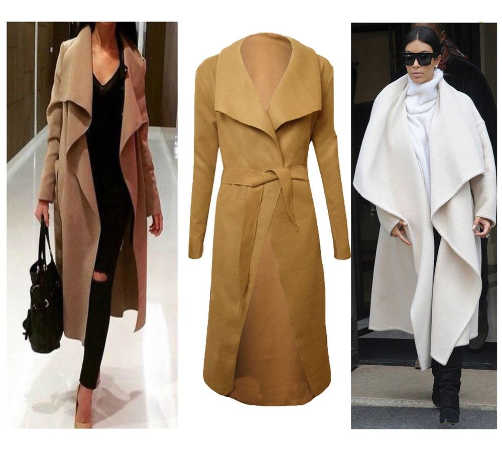 LONG Waterfall TRENCH Coat Belt Jacket Cape Cardigan Trench Camel ...