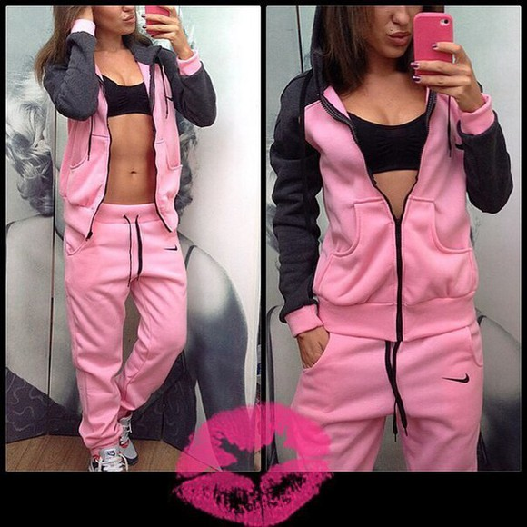 jacket pants pullover jumper hoodie jumpsuit nike pink sportswear sporty style tracksuit tracksuit bottoms zipper swag