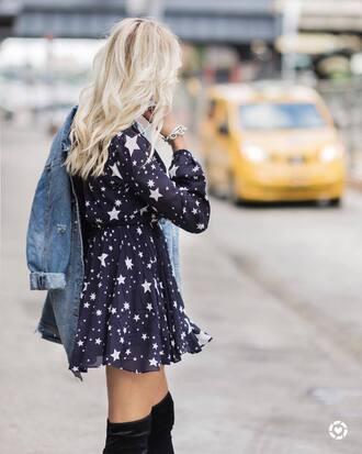 dress tumblr mini dress stars long sleeves long sleeve dress fall dress jacket denim jacket denim