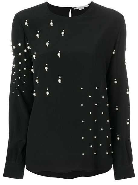 blouse women pearl embellished black silk top