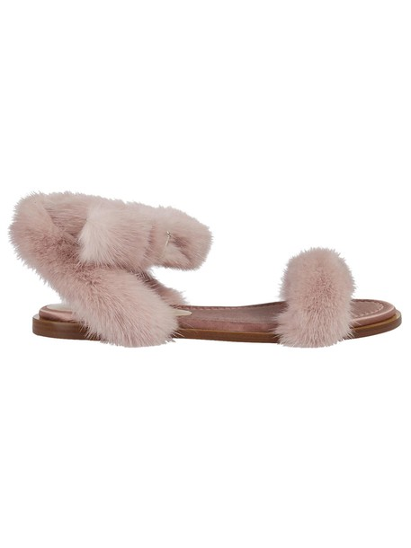 fur sandals shoes