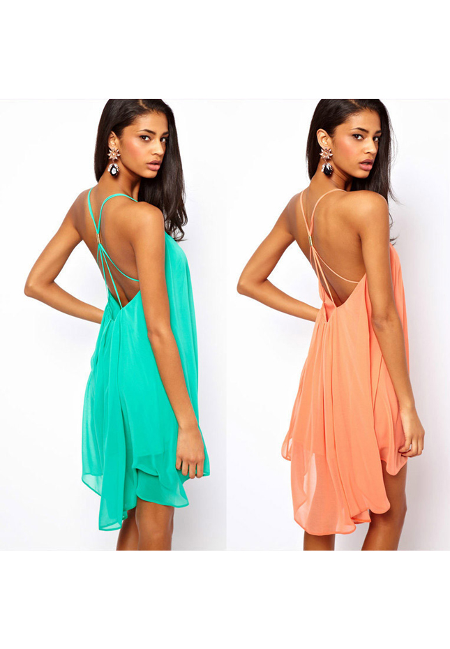 Sexy Women Chiffon Backless Sling Strap Back Clubwear Evening Mini Party Dress