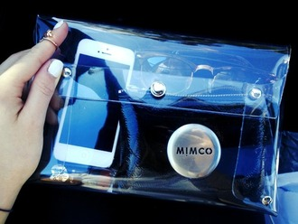 bag clear clutch wallet beach wallet fashion mimco studded clear wallet see through tumblr iphone purse