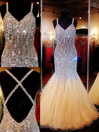 dress tulle dress sparkle elegant prom gown formal homecoming dress beige silver dressofgirl