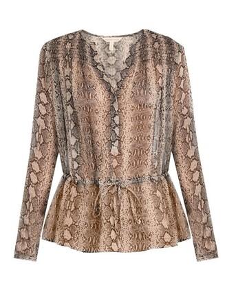 blouse snake drawstring print silk pink top