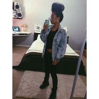 sunglasses jacket clothes jack bomber jacket denim denim jacket vintage urban black outfit blue black girls killin it bun glasses jewels shoes earrings distressed denim jacket chanel big earrings coat