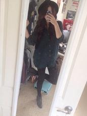hat,shirt,fedora,green,acacia brinley,pants,black pants,skirt,blouse