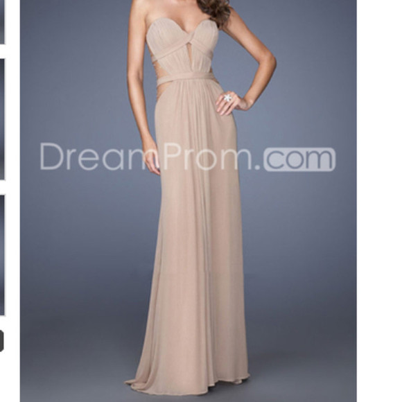 beige dress prom gown backless prom dress