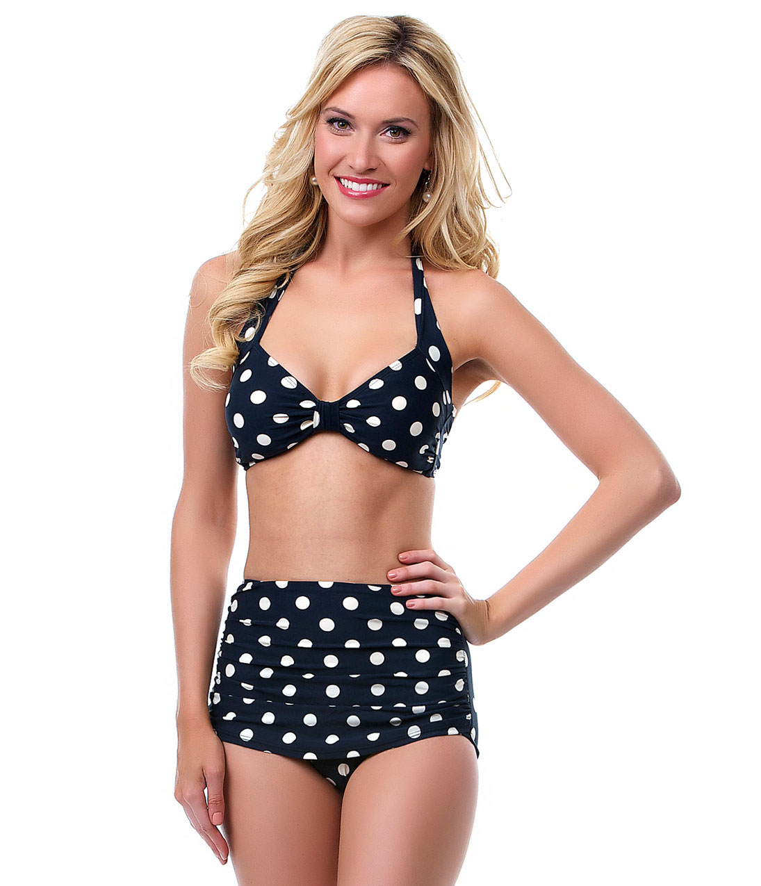 BEST SELLER! Vintage Inspired Swimsuit 1950s Style Black Polka Dot Two Piece Swimsuit - Unique Vintage - Prom dresses, retro dresses, retro swimsuits.
