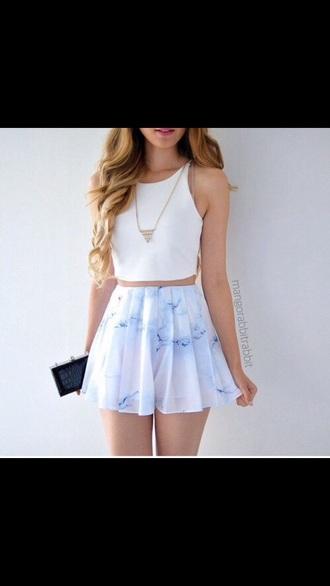 skirt blue white marble tumblr tumblr girl skater skirt tumblr outfit blouse