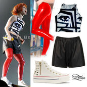 tank top,hayley williams,shorts,shoes,shirt,crop tops,pants,red