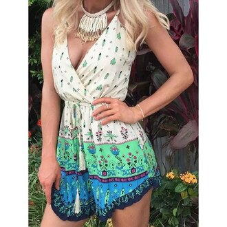 romper boho trendy fashion style green blue summer rose wholesale-ma
