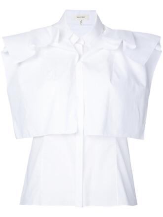 shirt sleeveless women layered white cotton top