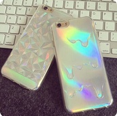 phone cover,iphone,holographic,iphone 6 case,holographic iphone case,white,iphone case,3d,metallic,iphone cover