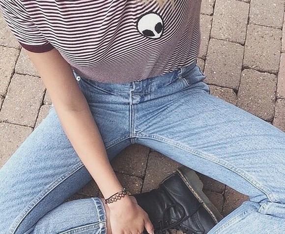 striped shirt blouse alien
