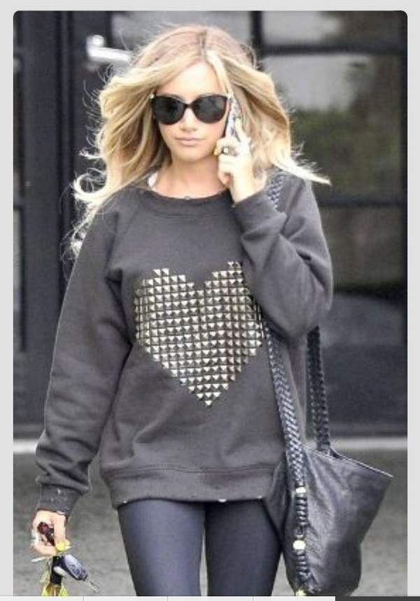 sweater winter sweater heart studs studded sweater grey sweater leggings sunglasses heart sweater