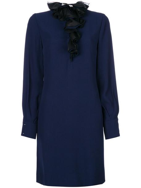 lanvin dress women blue silk