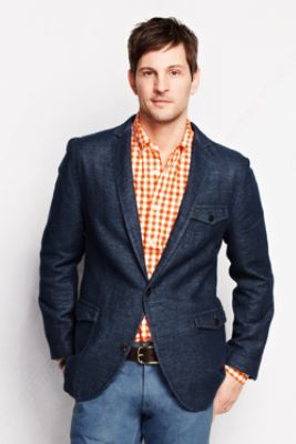 Men's Tailored Fit Cotton Linen Blazer from Lands' End