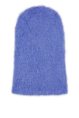 fluffy hat beanie blue bright