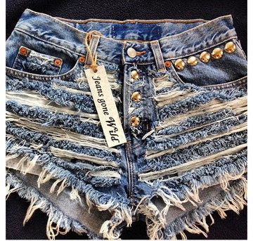 IT UP High waisted denim shorts Studded super by jeansgonewild