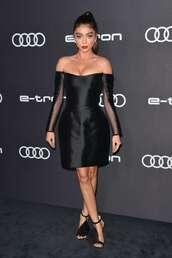 shoes,sarah hyland,off the shoulder dress,black dress,sandal heels,celebrity